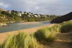 River view from Crantock beach Cornwall England Stock Photos