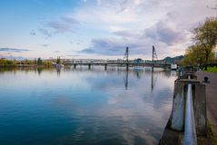 River view in downtown Portland, Washington royalty free stock image