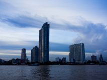 River view at everning time in Bangkok, Thailand.  Stock Image