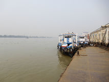 River view and ferry rides. In India stock photos