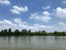 Background. View from floating market at bangkhla royalty free stock photography