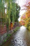 River view at gion kyoto in Japan. River between tree and japanese old house Stock Photos