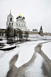 River view on Pskov Kremlin, Krom in winter time Stock Photography
