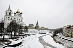 River view on Pskov Kremlin, Krom in winter time Royalty Free Stock Photo