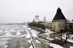 River view on Pskov Kremlin, Krom in winter time Royalty Free Stock Photography