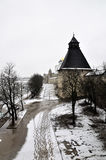 River view on Pskov Kremlin, Krom in winter time Stock Images