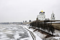 River view on Pskov Kremlin, Krom in winter time Royalty Free Stock Images