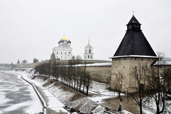 River view on Pskov Kremlin, Krom in winter time Stock Photo