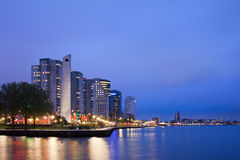 River View of Rotterdam at Night Stock Photography
