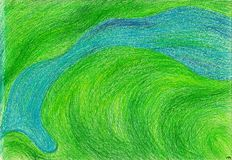River. The view on top of it. The picture is made with wax crayons on paper. The image size is about A4 Stock Photos