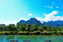 River view @Vang Vieng. Nice scenery song river view @Vang Vieng,LAO Royalty Free Stock Image