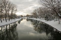 River Views during snowy winter royalty free stock photos
