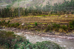 River Vilcanota - The Train Ride to Machu Picchu. The view of the train ride of Machu Picchu stock images