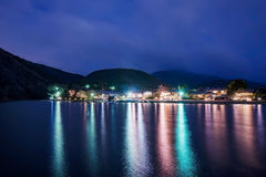 River and village at night Stock Photography