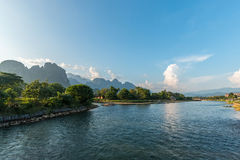 River at the village of Vang Vien. On Laos Royalty Free Stock Images