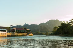 River at the village of Vang Vien. On Laos Stock Photography