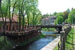 River Vilnele ant Uzupis in Vilnius. Lithuania Royalty Free Stock Image
