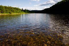 The river Vishera in the Ural mountains. Northern Urals Mountains. Travel on the river Vishera royalty free stock images