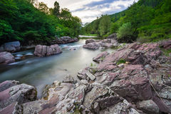 River Vit. Spring landscape of beautiful river Vit with rocks and stones at village Ribaritsa near town of Teteven, Bulgaria Stock Images