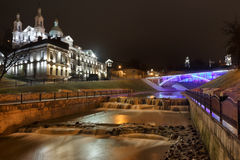 River Vitba mouth. Downtown Vitebsk. Royalty Free Stock Photography