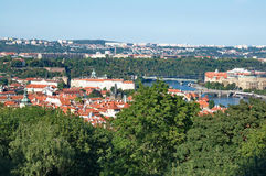 River Vltava, bridges and old, attractive architecture of Prague Royalty Free Stock Images