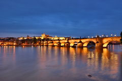 River Vltava, Charles Bridge and the Castle by night. Prague. Czech Republic Royalty Free Stock Images