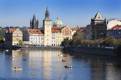 River Vltava and city of Prague. Europe. Stock Images