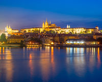 River Vltava at night Prague Czech Republic Royalty Free Stock Images