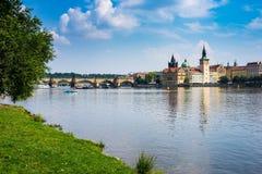 River Vltava Prague Czech Republic. View from the park on Shooters Island (Střelecký Ostrov) Prague Czech Republic Europe Stock Photo