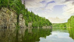 River Vltava and rocks Royalty Free Stock Photos