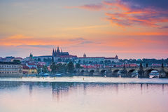 River Vltava sunset Prague Czech Republic Europe Royalty Free Stock Photo