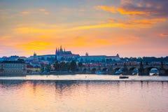 River Vltava sunset Prague Czech Republic Europe Royalty Free Stock Images