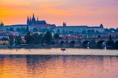 River Vltava sunset Prague Czech Republic Europe Stock Photography