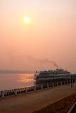 River Volga and cruiser royalty free stock photography
