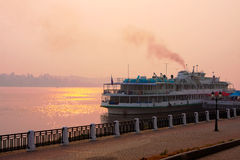 River Volga and  cruiser Royalty Free Stock Photos