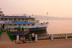 River Volga and cruiser Stock Photos