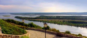 River Volga in Russia, Samara. Beautiful nature, panoramic scenery.  Rivers of Russia - Volga in Samara, top view Stock Image