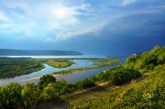 River Volga, view of Samara city. River Volga, Samara city, top view Stock Photo