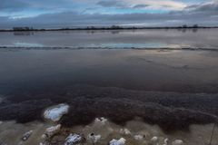 The river Volhov in the winter at sunset in Novgorod Veliky Stock Photography