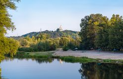 River Vorskla Orthodox church on the mountain Stock Photos