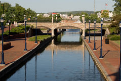 River walk. Re-vitalized downtown with river and brick walk ways Stock Photos