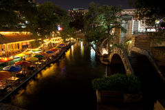 The River Walk at night. The River Walk in San Antonio Texas Stock Photos
