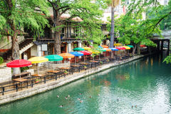 River walk in San Antonio. In the morning royalty free stock image