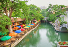 River walk in San Antonio. In the morning royalty free stock photography