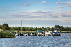 The river Warnow with some boats Stock Image