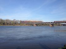 River in Warsaw. Blue river in Warsaw near poland stadion Royalty Free Stock Photos