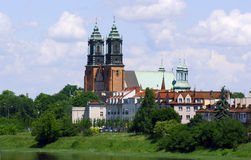 River Warta and Archicathedral Basilica Stock Photography