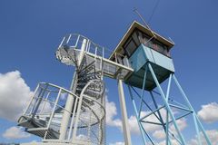 River Watch Tower against a blue sky. A river watch tower and staircase against a blue sky Stock Image