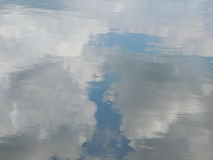 Reflection in the water. Clouds reflected in a river water Stock Photo