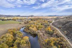 River and water diversion at Colorado foothills. Cache la Poudre River and water diversion ditch Charles Hansen Canal at foothills above Fort Collins, Colorado royalty free stock image